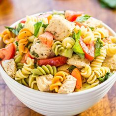 This pasta salad is easy, ready in 20 minutes, and showcases some of my favorite (summer) ingredients. However, I eat tomatoes, cucumbers, and basil year-round. Love them. That's my go-to trifecta for salads, but everything just tastes so much better in the summer. There's flavor and texture galore in every bite of this dish. Tender chicken, al …