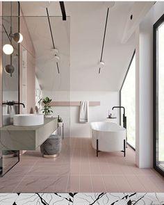 """131 curtidas, 5 comentários - PUERTA24 Arquitetura Decoração (@puerta.24) no Instagram: """"Olha que banheiro mais delicado! O porcelanato rosa escolhido é tão discreto que não fica…"""""""