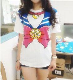 New Sailor Moon Anime Chibimoon Harajuku Kawaii Girl's Fake Print Cosplay T Shirt Woman Tops Peplum Tops Tee Vestidos