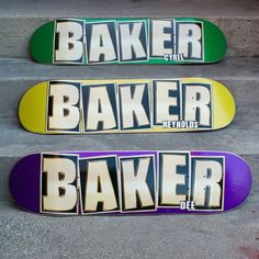 Check out these beauties!😍 Brand Name Glitter✨✨✨✨ - - & - All three boards are the Baker B² Shape: squared nose and tail with a steeper concave for more board feel. Baker Skateboards, Skateboard Shop, Concave, Brand Names, Jackson, Glitter, Graphics, Shape, Check