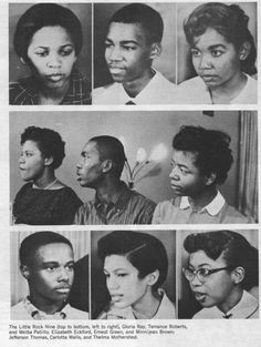 LITTLE ROCK CENTRAL HIGH SCHOOL 1957 THE LITTLE ROCK 9: TOP TO BOTTOM, LEFT TO RIGHT :  GLORIA RAY TERRENCE ROBERTS MELBA PATILLO ELIZABETH ECKFORD ERNEST GREEN MINNIJEAN BROWN JEFFERSON THOMAS CARLOTTA WALLS THELMA MOTHERSHED