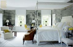 Bunny Williams used Zuber here – to create a soothing background scene in this bedroom. I love the touches of yellow.