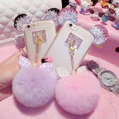 Cute-Cartoon-Ear-Fur-Ball-Soft-TPU-Phone-Cover-Case-For-iPhone-5S-SE-6-6S-6Plus