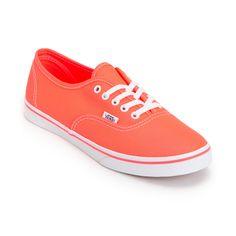 Vans Girls Authentic Lo Pro Neon Coral Shoe on Wanelo