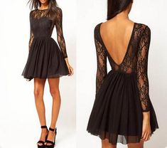 XH1 Black lace long sleeve short homecoming dress,sexy deep v back sho – FashionDressGallery