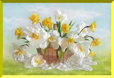 wall sticker cute blooming yellow and white floral basket full drill diamond embroidery oil canvas mosaic painting cross stitch Share Pictures, Animated Gifs, Puzzle Of The Day, Free Photography, Photography Wallpapers, Cross Paintings, Flower Basket, Flower Photos, Spring Flowers