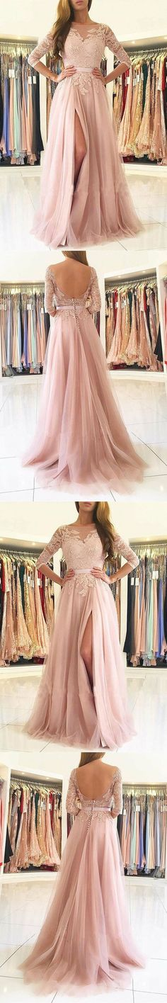A-Line Bateau Long Sleeves Sweep Train Pink Tulle Prom Dress with Appliques M1595#prom #promdress #promdresses #longpromdress #promgowns #promgown #2018style #newfashion #newstyles #2018newprom #eveninggown #aline #bateau #longsleeve #pink #tulle #appliques #openback