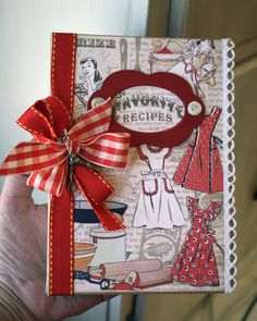 vintage paper, recip book, vintage recipes, mini albums, card