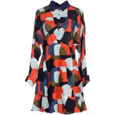 Paul & Joe Short Dress (€225) ❤ liked on Polyvore featuring dresses, red, long sleeve mini dress, zipper dress, short red dress, long shirt dress and red mini dress