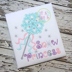 Snow Princess Wand Applique