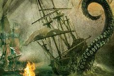 Giant Squid Attacking Ship | The Kraken , by Alfred Lord Tennyson