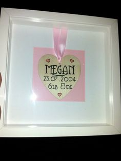 New Baby Print. Wooden heart individually handcrafted to new baby details. Can also be for couples or family names. Please state colours for family / couples print.    30.00