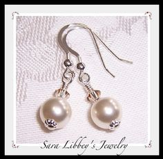 Emily Earrings with Swarovski Pearls and Crystals by Saralibbey, $12.00