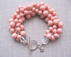 Swarovski crystal and coral pearl belle bracelet by trinkjewelry, $225.00