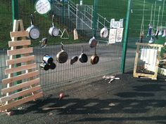 Outdoor music wall  ≈≈ For more inspiring pins: http://pinterest.com/kinderooacademy/auditory-play/