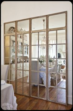 Accordion Folding Doors and Room Dividers For Home Mirror Door, Wall Of Mirrors, Closet Mirror, Mirror Room Divider, French Windows, Vintage Windows, French Doors, Old Windows, Windows And Doors