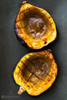 Baked Acorn Squash with Butter and Brown Sugar ~ Easy baked acorn squash recipe, perfect for the fall. Squash is cut in half, insides scooped out, then baked with a little butter, brown sugar, and maple syrup. ~ SimplyRecipes.com