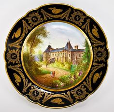 Antique French c.1804-1809. Sevres Hand Painted Cabinet Plate, Napoleon & Josephine Bonaparte's Malmaison  Photo credit: Antiques & Uncommon Treasure