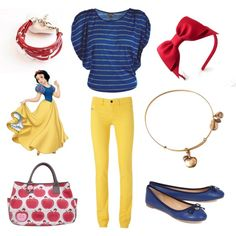 Casual Princesses - Snow White Disney Princess Fashion @Deb Spitz, this the disney inspired  outfits I've been talking about.