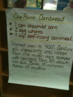 Weight Watchers One Point Cornbread - with careful label reading, could also be gluten free & dairy free.