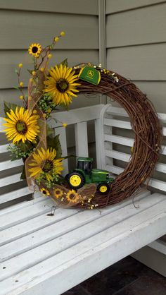 John Deere/Sunflower Wreath