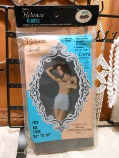 "Black Girdle Size 24"" - 30"" Helanca JO-LA Foundations Dupont Lycra Spandex Fiber Women 1950s Made in USA  Mid Century Lingerie Vintage Retro..."