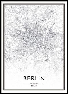Schönes Poster mit Berlin-Karte. Schwarz-Weiß-Poster mit einer Karte der beliebten deutschen Hauptstadt. Passt an jede Wand und kann ausgezeichnet mit weiteren Postern kombiniert werden. www.desenio.de