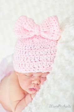 ITS A GIRL Pink Crochet  Beanie Hat with Big BOw by divapuppy, $13.00