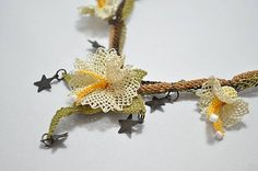 Yellow crochet Flower Necklace Crochet by berratosun on Etsy, $70.00