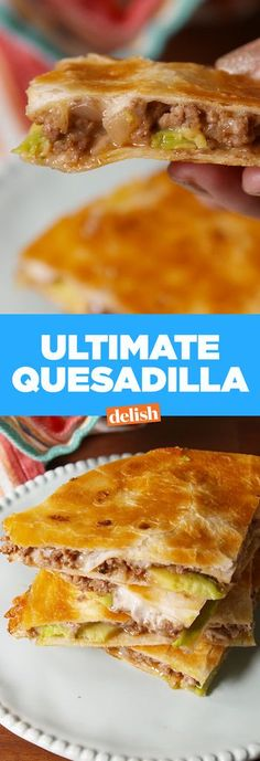 Easy Quesadilla Forget tacos—this Ultimate Quesadilla is the best way to use ground beef. Get the recipe from .Forget tacos—this Ultimate Quesadilla is the best way to use ground beef. Get the recipe from . Mexican Dishes, Mexican Food Recipes, Enchiladas, Ground Beef Quesadillas, Chicken Quesadillas, Great Recipes, Favorite Recipes, Sandwiches, Good Food