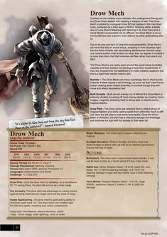 [Homebrew] Drow Mech - Monster