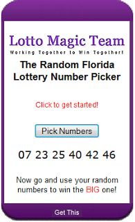 I received an email asking how the Florida random lottery number picking widget   works so here's a brief explanation from what I know (I didn't create   it). The part you see below is just the actual interface that you can place on your web site if you like.