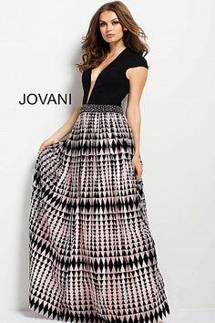 71a5bc61ab0e Black Print Cap Sleeve Plunging Neckline Gown 42864 Designer Evening Dresses