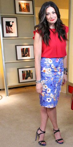 Stacy London in  a Red Blouse and Floral Skirt by Zara.