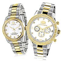 Matching Watches for Couples Luxurman Yellow Gold Plated Diamond Watch Set