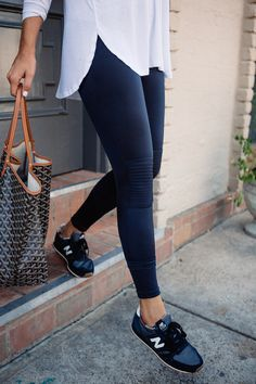 Sneakers & yoga pants with moto details | From Barre to Brunch | The Teacher Diva