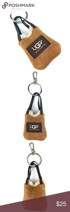 UGG mini purse bag/key chain UGG Australia mini purse bag/keychain/earbuds holder. Brown natural suede and fur. Very cute, great condition. UGG Bags Mini Bags