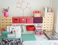 Sewing Room Storage, Sewing Room Organization, My Sewing Room, Sewing Rooms, Organization Ideas, Sewing Closet, Sewing Room Furniture, Sewing Spaces, Sewing Table