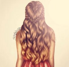 Hair drawing illustration / Capelli, disegno, illustrazione - by Kristina Webb Art
