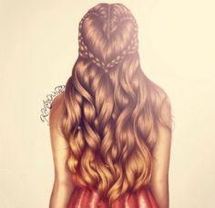 Hair drawing illustration / Capelli, disegno, illustrazione - by Kristina Webb Art