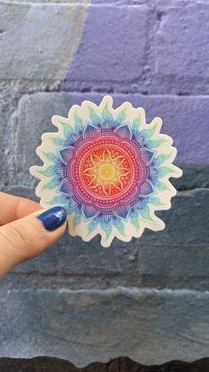 Sun Illustration, Cute Laptop Stickers, Rainbow Crafts, Mandala Drawing, Flower Mandala, Small Business Marketing, Sticker Design, Etsy Store, Art