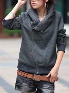 Stylish Turn-Down Neck Long Sleeve Zippered Solid Color Women's Hoodie Jackets | RoseGal.com Mobile