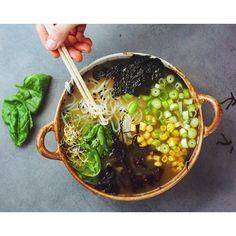 Shirataki noodles, seaweed, corn, spring onion, dulse, arame, bok choy, edamame and sprouts. So…