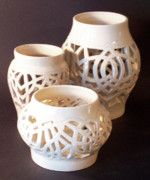 Three White Stoneware Wheel Thrown Candleholders,  Interlaced Design