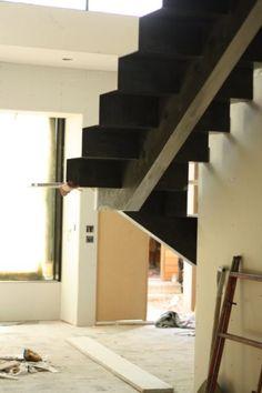 Floating Single Stringer Staircase Under Construction | Austin Outdoor Studio