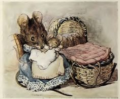 "'The Tale of Two Bad Mice', 1904 -- Beatrix Potter. ""Hunca Munca has got the cradle and some of Lucinda's clothes. Beatrix Potter Fabric, Maus Illustration, Beatrix Potter Illustrations, Susan Wheeler, Beatrice Potter, Peter Rabbit And Friends, Art Graphique, Vintage Art, Vintage Nursery"