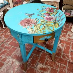 """4th Street Vintage - Temecula on Instagram: """"*SOLD!* thank you @brenda.bush.art 😘 Enjoy! Beautiful! Check out this gorgeous Bombay Company Side Table, painted with #floraltransfers…"""" Wonderland Park, 4th Street, Outdoor Furniture, Outdoor Decor, Painted Furniture, Farmhouse Decor, Table, Check, Beautiful"""