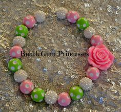 Chunky BubbleGum bead necklace POLKA DOTS Pink, Green and White Sparkle With PETAL pink rose girl toddler baby Jewelry Princess Summer on Etsy, $18.00