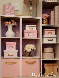 Craft Room: Pink and White Damask Storage Box {Tutorial} Shabby Chic Storage Boxes, Ikea Storage Boxes, Craft Storage Box, Decorative Storage Boxes, Craft Organization, Karim Rashid, Laura Ashley, Attic Bedroom Storage, White Damask