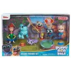 Party Time 2 Skateboards Pals Sticker and PAW Tattoo Featuring Rolly Disney Puppy Dog Pals Deluxe Party Favors Goody Bag Fillers Set of 14 with 10 Figures Bingo and All Friends